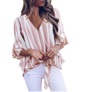 Tops - stripe off casual pink top